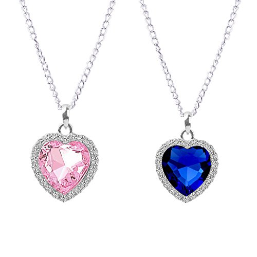 Fasherati Blue pink crystal heart titanic pendant for girls (set of 2 pendant Necklace)  available at amazon for Rs.349