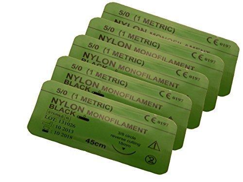 Wundverschluß Doctor Nahtmaterial 5-0 Nylon Schwarz 5pc - 75cm Training Verwendung - Sterile Wundverschluss