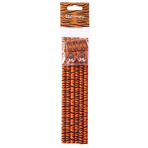 Stifte-Set, mit 6 Bleistiften und Radiergummis, bedruckt mit Tigermuster