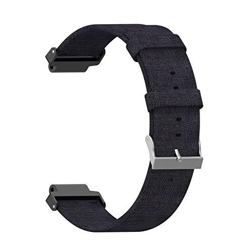 BHYDRY Armband aus gewebtem Stoff WristStrap für Garmin Forerunner 220 230 235 630 620 735(1*pc,Schwarz) -