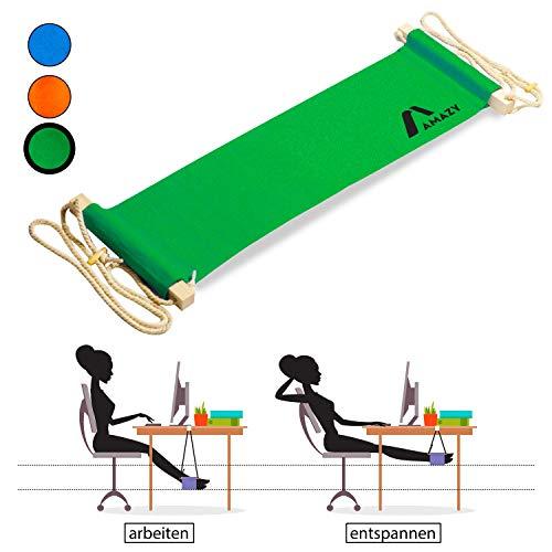 Amazy XXL Fuß Hängematte und für breite Tische bis 2,00 m - Höhenverstellbare und extra breite Fußstütze zur Entspannung und Entlastung am Schreibtisch und im Büro (Grün)