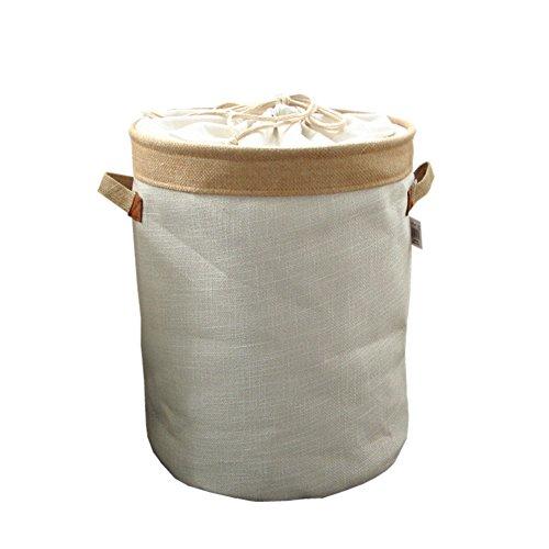 LJ&XJ Cotone E Lino Cesto della Biancheria,barile Vestito Sporco Sacco Portabiancheria Bin di Lavaggio con Coulisse-Beige