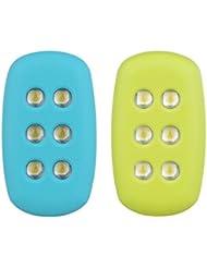 Luz de Seguridad para Correr Alimentadas por Movimiento (2 Packs) con 2 Brazaletes. Clips de Luz LED sin baterías, ligeras para hacer Running, Jogging, Equipo Reflectante, Reflectores para Corredores, Ciclistas, Mascotas, Perros. 15 Lumen (Verde y Azul)