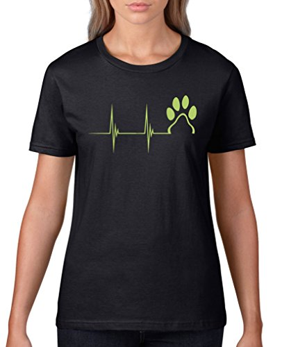 Grüner Urlaub Weihnachten Hund T-shirt (Comedy Shirts - Pulsschlag Pfote - Damen T-Shirt - Schwarz/Grün Gr. XXL)