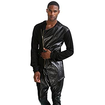 Pizoff Unisex Hip Hop Gotik Punk Zip Up Extra Long Black Coat Jacket Hoodie 1