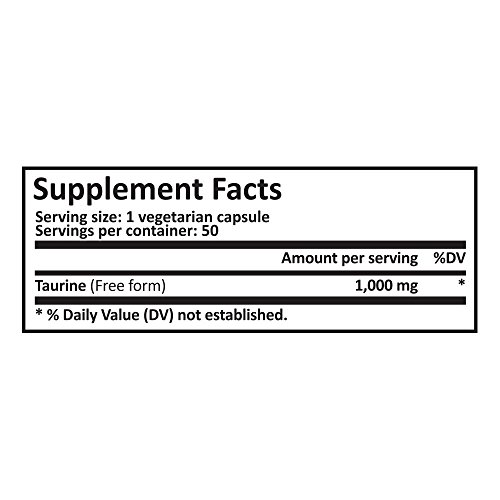 41fiLglM14L. SS500  - Pure Science Taurine 1000mg -Taurine Supplement Improves Cardiovascular Health, Regulates Blood Sugar Level & Mood - 50 Vegetarian Capsules of Taurine Powder