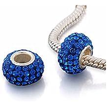 Andante-Stones Argento massiccio Sterling 925 originale cristallo perlina color blu Ciondolo da donna Charm Bead per bracciali europei + sacchetto di organza