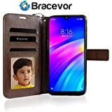 Bracevor Flip Cover Case for Xiaomi Mi Redmi Y3 / Redmi 7 Leather Case | Wallet Card Slots | Foldable Stand | Inner TPU - Executive Brown