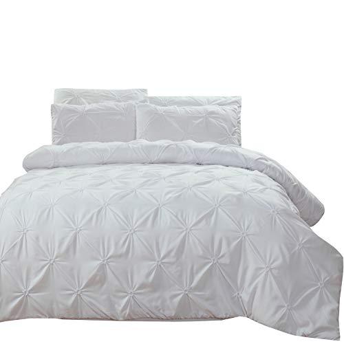 Pinch Falte Bettbezug Set Hypoallergen Bettbezug Modern Twin(No Comforter) Weiß ()