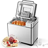 Homeleader Bread Maker, Digital Bread Machine with Ingredients Dispenser, Programmable Machine for Home Use (3 Loaf Sizes, 3 Crust Colors, 15-Hour Delay Timer, 1-Hour Keep Warm, Gluten Free Setting)