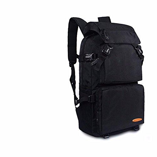TBB-Doppia tracolla grande capacità viaggia zaino alpinismo sacchetto esterno impermeabile borsa svago,arancio grande Black