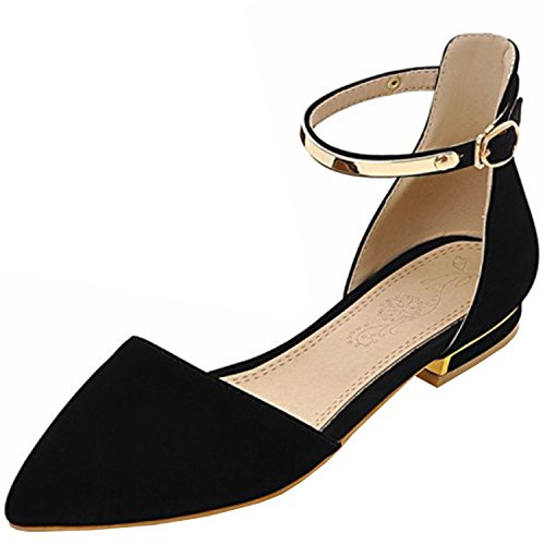 Strap Black Flat Women's Toe Azbro Pumps Ankle Pointed f64ZI