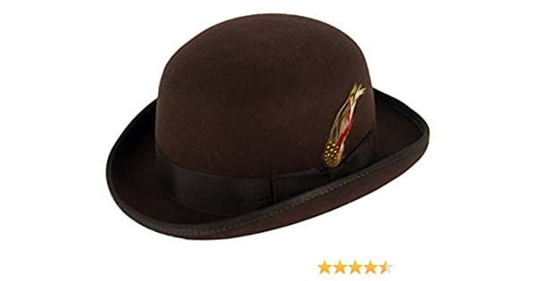 58c50583e Gamble & Gunn Bowler Hat 100% Brown Wool Felt
