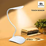 HOME CUBE® Portable Flexible LED Table Lamp with Eye Care 3 Level Brightness and Touch Sensor - White Color.