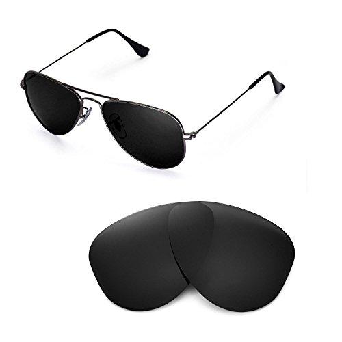 Walleva Ersatzgläser für Ray-Ban Aviator RB3044 Small Metal 52mm Sonnenbrille - Mehrfache Optionen (Schwarz - polarisiert)