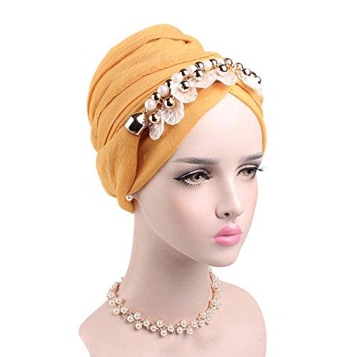 Muslim Damen Seide Kopftuch Retro Turban Hidschab Schal mit Perle Geblümt Islamischen Abaya Dubai Frauen Elegante Ramadan Kopfbedeckung Hijab Bandana (Gelb)