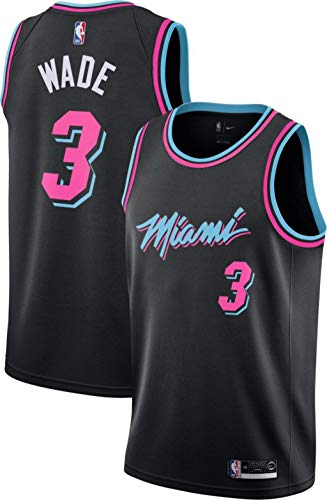 ne Wade #3 Miami Heat, Fan-Trikot Jersey Stickerei Anzug Sommer Basketball Anzug Hemd, Trägershirt Fitness (L, Schwarz City Edition '19) ()