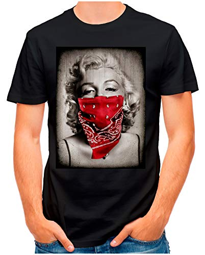 OM3® - Marilyn-Monroe-Gang - T-Shirt | Herren | Gangster Hollywood Star Portrait Biker Art | Schwarz, L - Marilyn Monroe T-shirt Tee