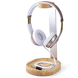 Avantree Universaler Baum & Aluminium Kopfhörerstander Headset Halter Holz mit Kabelhalter für Sony, Bose, Shure, Jabra, JBL, AKG, Gaming Kopfhoerer Staender Kopfhoererhalter