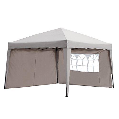 Sekey 3x3m Tonnelle, Tente Fête pliante/ Rétractable Garden Party/ tente réception/ pavillon, Taupe, modèle ISCHIA, avec deux parois latérales