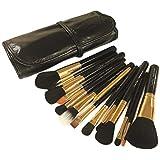 Dream Maker 15 Piece Makeup Brush Set With Pouch Model DM-146 (Black + Gold)