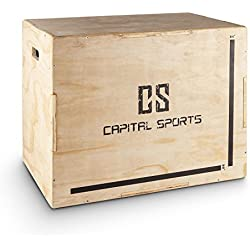 """Capital Sports Shineater caja de salto pliométrica (3 alturas de 20"""", 24"""" y 30"""", de madera de 11 capas, apta gimnasio profesional o entrenamiento al aire libre) - madera"""