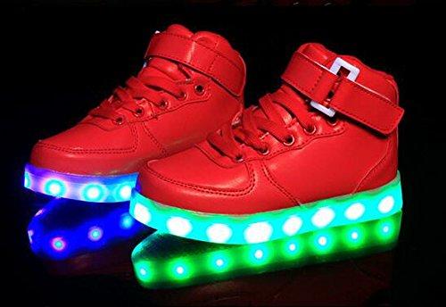 Firstmall-LED Chaussures High Top 7 Couleur Unisexe garçons et filles enfants USB Charge LED Lumière Lumineux Clignotants Chaussures de Sports Baskets Rouge