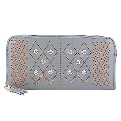 Talat Fashion PU Leather Stylish Wallet/Clutch/Purse for Women & Girls (Grey)