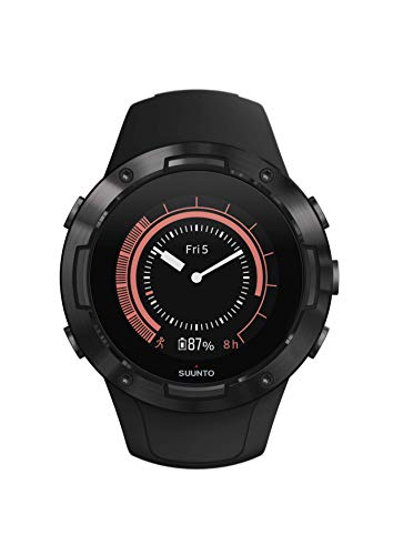 Suunto 5 GPS multisport watch, adult unisex, mineral glass, stainless steel, silicone, black (all black), SS050299000
