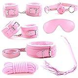 Cuero superior de la PU 7 piezas conjunto de sujeción látigo, esposas, venda, mordazas, collar, correa, gargantilla (rosa) (rosado)