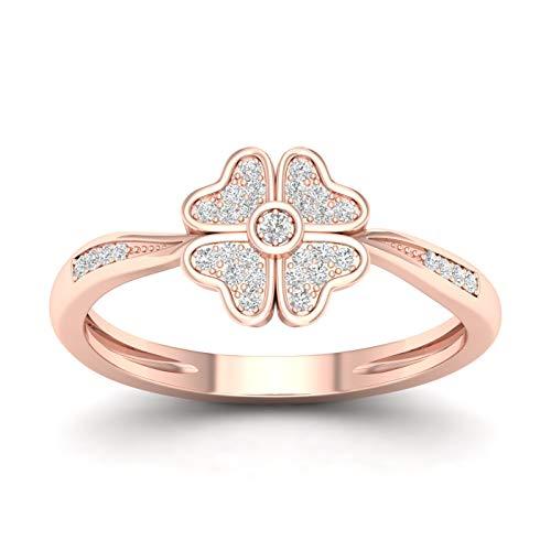 10CT Rose Gold Diamond Flower Engagement Ring Size 7 (0.09ct/ SI2,H-I) (10k Rose Gold Ring Diamond)