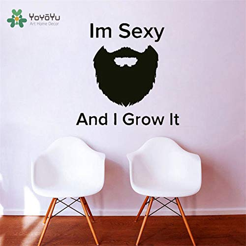 zhuziji Zitate Ich Bin Und Ich Wachse Es Haarschnitt Bart Gesicht Vinyl Fenster Mann Salon Wandtattoo Barber Shop Logo Wandaufkleber Kunst Dezember 57x56 cm -