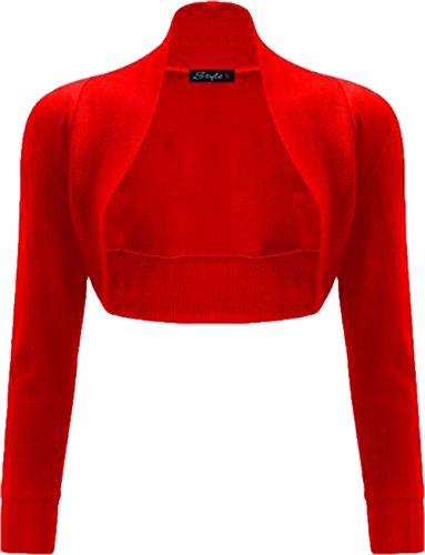 Les femmes Janisramone coton uni nervurés top à manches longues boléro haussement Rouge