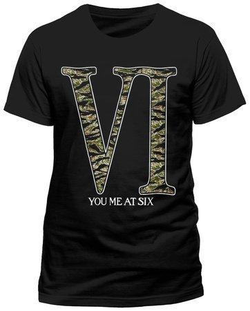 YOU ME AT SIX-Skin ufficiale-Maglietta, varie taglie, motivo mimetico con LOGO, colore: nero