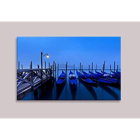 XYXY Ciudad nocturna decorativa pintura brillante LED luces fibra lienzo Mural colgante pintura . c . 40*50