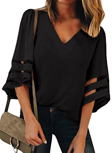 GOSOPIN Women V Neck Tops Loose 3/4 Bell Sleeves Blouse Solid Color Lace Patchwork Tees