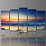 YSAZA HD Spray Painting Living Room Decorative Painting Mural Five Evening Beach Landscape Canvas Oil Painting