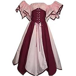 Mujer Disfraz De Cosplay Vestido Medieval Ropa Renacentista Vendimia Pink M