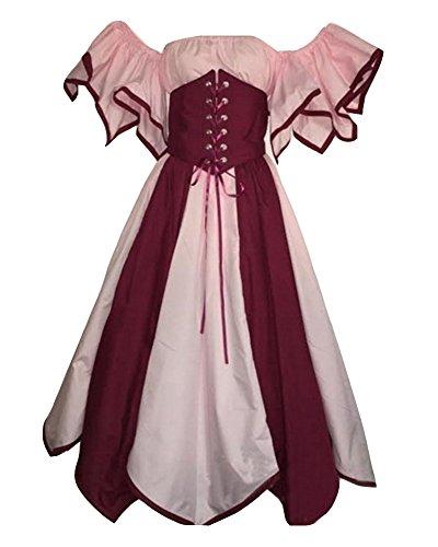 GladiolusA Damen Renaissance Mittelalter Kostüm Viktorianisches Kleid Retro Partykleid Pink 3XL