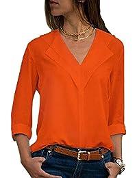 66c069da57d5 Aleumdr Bluse Damen Langarm Einfarbig V-Ausschnitt Elegante Tunika Casual  Top Locker Langarmshirts mit Knopfleiste…