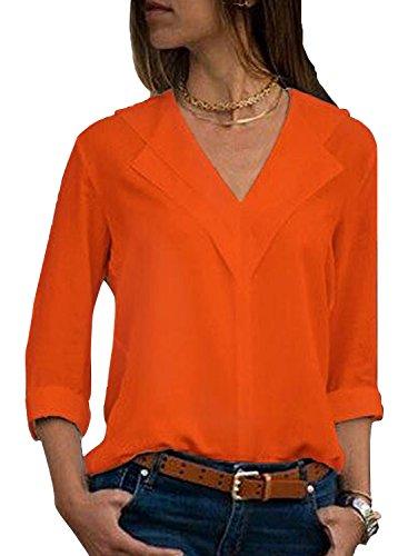 Aleumdr Damen Blusen Tunika Vorne V-Ausschnitt mit Lange Ärmel Oberteile Bluse Tops Langarmshirts Blusen Loose Vintage Langarm ,Orange,Small(EU36-38) -