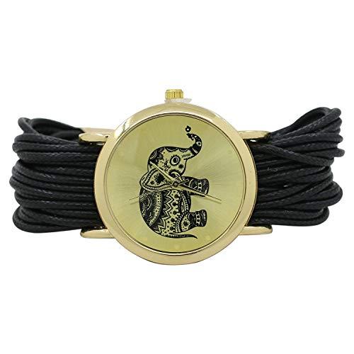 Frauen Elefanten Zifferblatt geflochten Wrap Armband ArmbanduhrCarry Stone