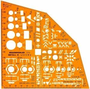 Rumold 2916 Metallwinkel, zum Zeichnen und Messen orange/klar