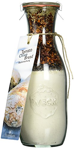 Backmischung im Weckglas für Tomaten- Oliven Brot- Raffinierte Geschenkidee für Backfreunde- Backzutaten für die einfache Zubereitung von Tomaten- Oliven-Brot- Gourmetbackmischung von Feuer & Glas