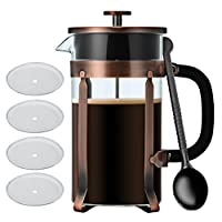 French Press,Blufied 34 Oz French Press Coffee Maker with 4 Filters 4 Level Filtration System 304 Grade Stainless Steel 8 Cup Cafetières Espresso Coffee Press-1000ML