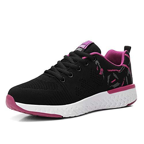 Mujeres Zapatos Deportivas Running Trekking Sneakers Cordones Ligero Respirable Mesh Shoes Fitness Rosa...