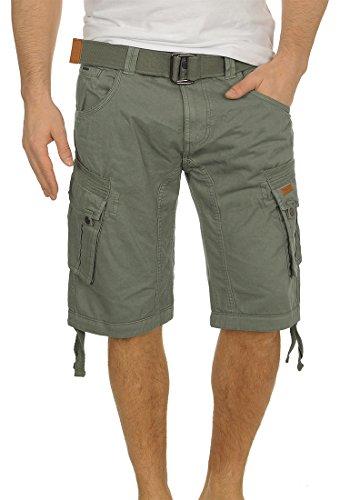 INDICODE Hampton Herren Cargo Shorts Bermuda Shorts kurze Hose mit Gürtel aus 100% Baumwolle Army