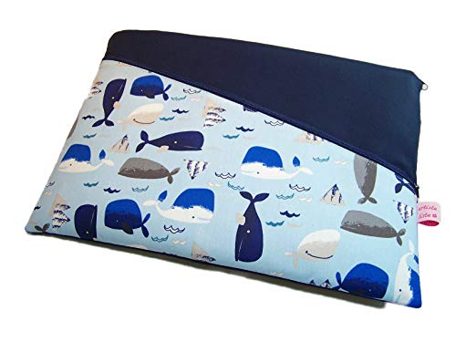 Tablet Hülle Notebooktasche Whale Watch hellblau mit Haupt- und Außenfach, Maßanfertigung für 8/9 / 10/11 / 12/13 / 14 oder 15 Zoll Geräte