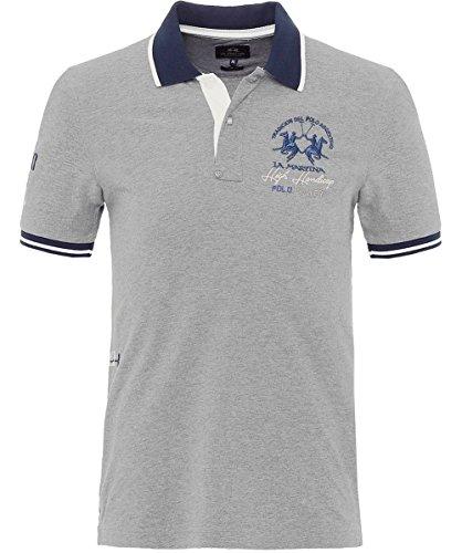 La Martina Herren Slim Fit Pique brooks Polo-shirt Grau Grau