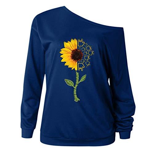 Inawayls Oberteile Damen Herbst Winter Schulterfrei Pullover Pulli für Damen Loose Fit mit Sonnenblumemuster